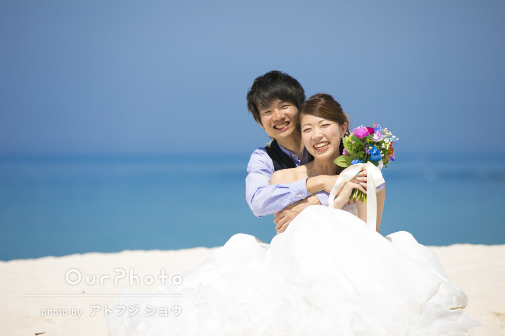 「彼も私も本当に楽しく」ビーチで結婚式の前撮り