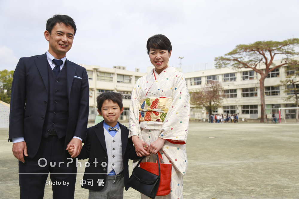 「家族そろっての写真をたくさん」「いい記念になりました!」入学式当日に家族写真の撮影