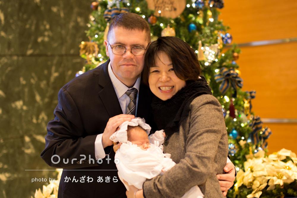 「神社だけでなくてクリスマスツリーの前でも」お宮参りの撮影