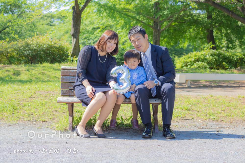 「お外で自然な笑顔で」お子様の入園記念に家族写真を撮影してほしい!