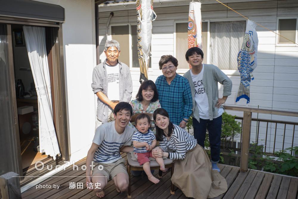 帰省しておじいちゃんおばあちゃんも一緒に!1歳記念に家族写真