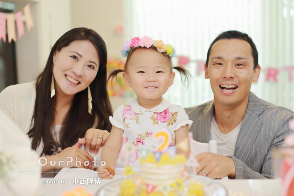 「とっても安心してお願いできました」ご自宅で2歳の記念に家族写真