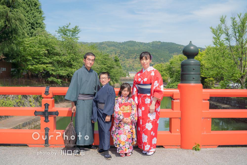 家族旅行の記念に着物を着て!京都で和やか出張撮影