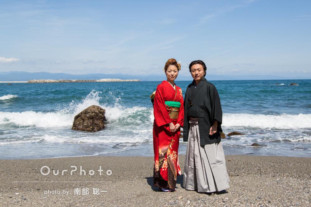 「とても明るく楽しい撮影に」太平洋をバックに和装で結婚式の前撮り