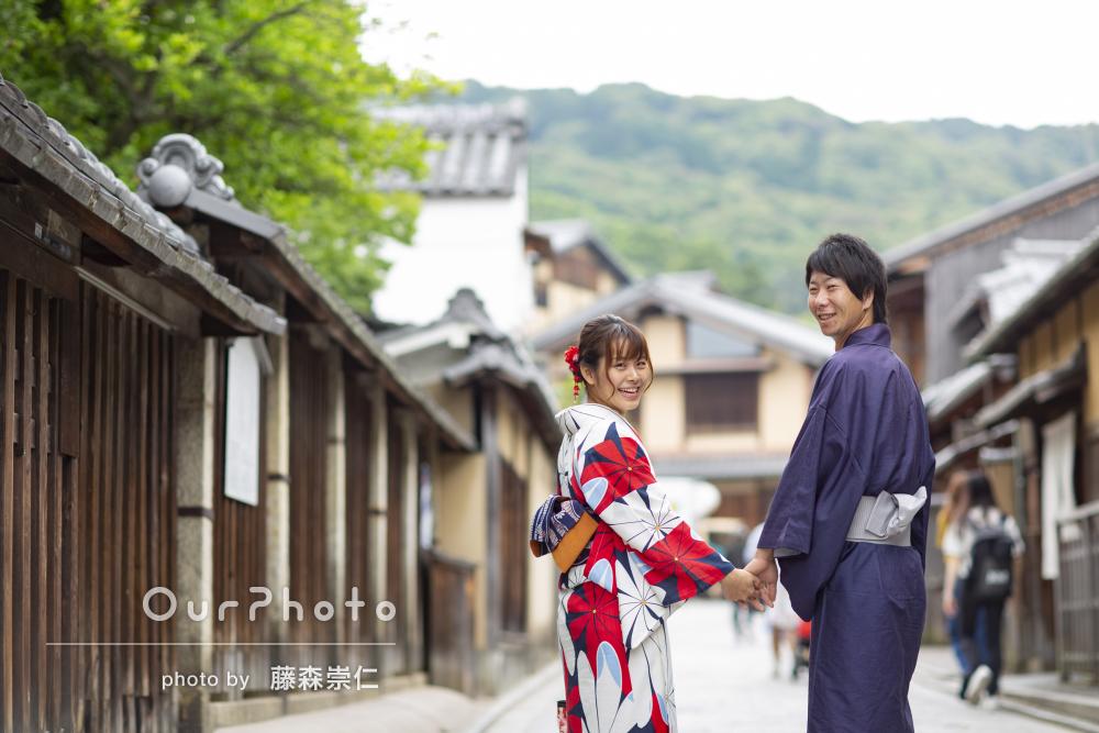 「大満足です」京都旅行の思い出に着物でカップルフォト撮影