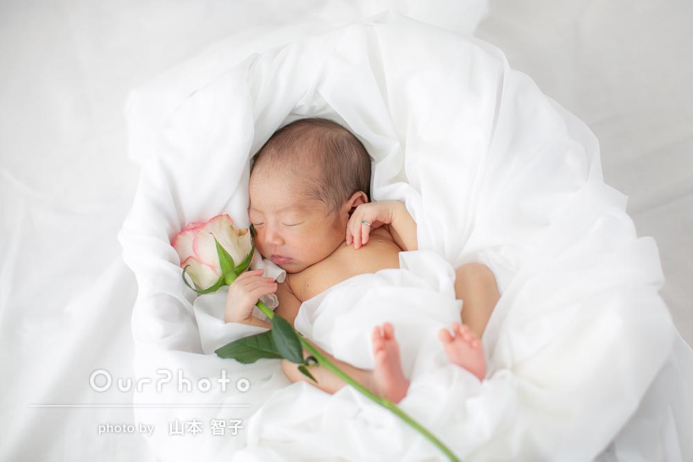 幸せそうな寝顔!明るく優しいニューボーンフォトの撮影