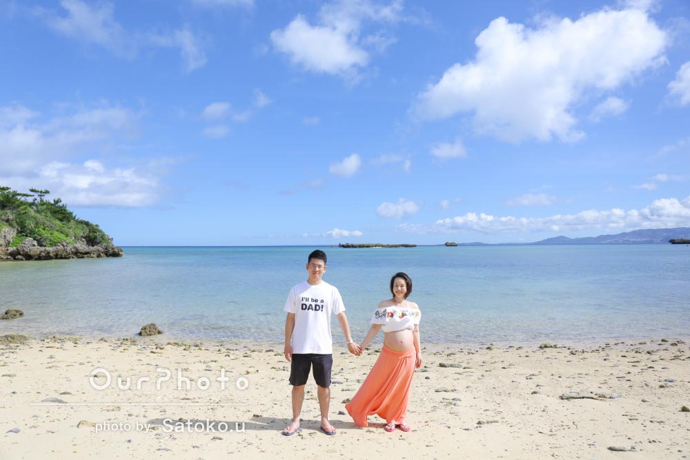 沖縄のビーチで!幸せいっぱいマタニティフォトの撮影