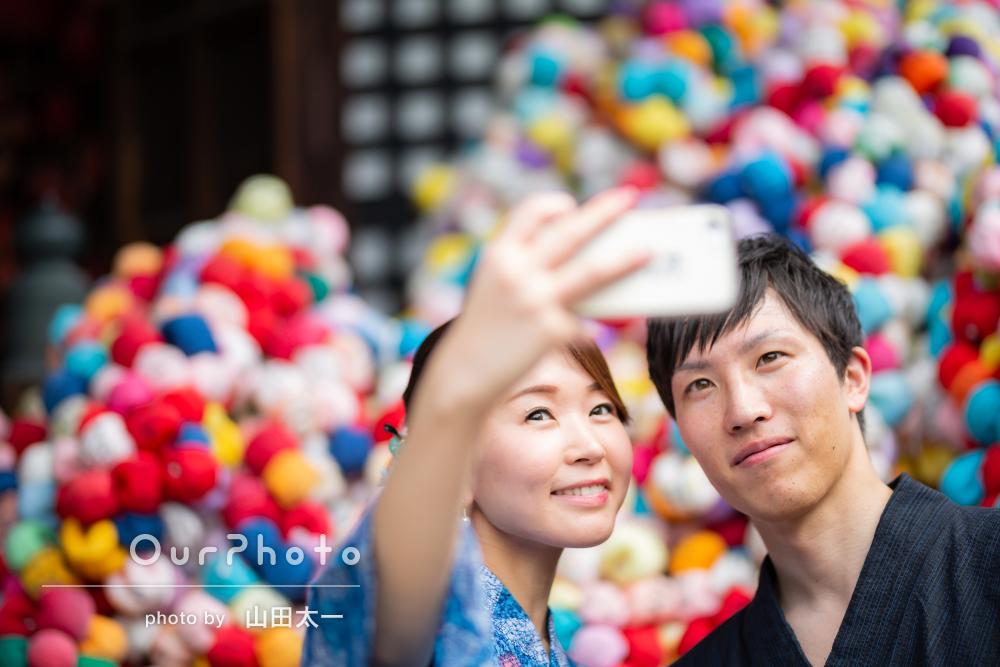 「緊張せず楽しく撮影」京都にて浴衣でカップルフォト
