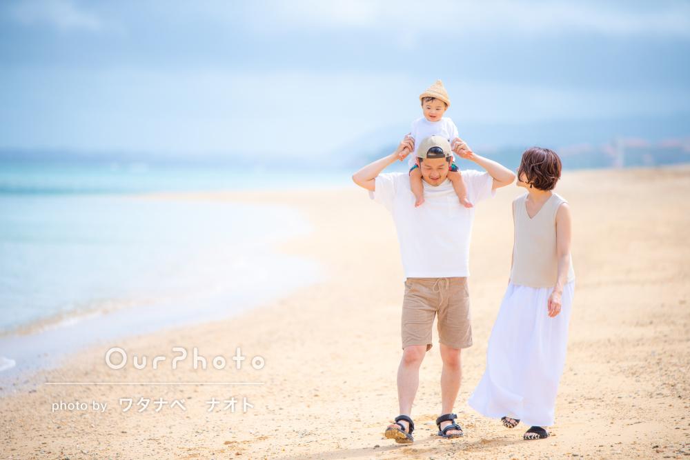 「大満足な仕上がり」沖縄旅行の思い出にビーチで家族写真の撮影