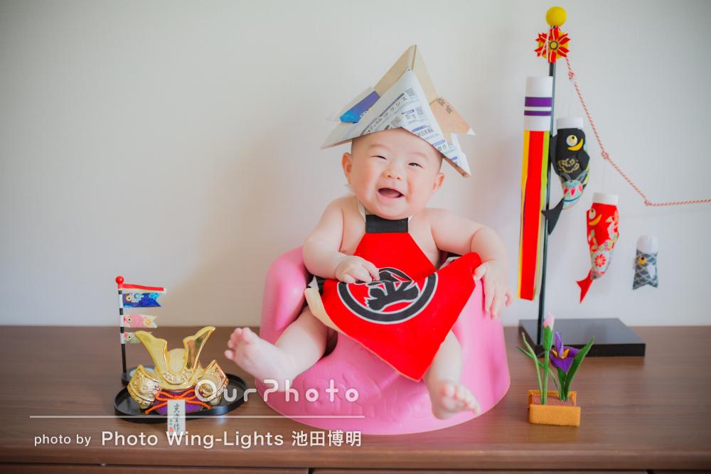 とにかく赤ちゃんが笑顔!キュートな男の子の初節句を撮影