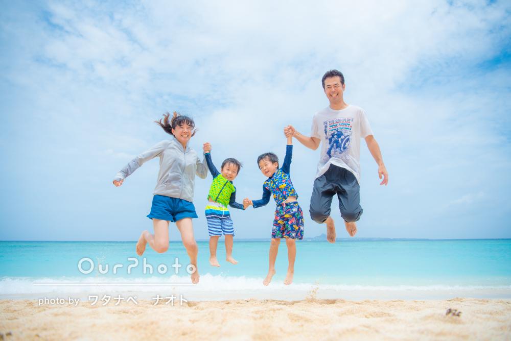 「すぐに打ち解けて…」旅行先の沖縄の海で楽しく家族写真