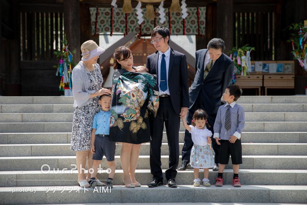 「親切に対応」祖父母様も一緒に家族8人でお宮参りの撮影