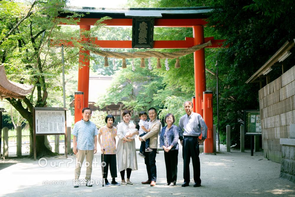 「家族全員が楽しめる写真撮影」ふわっと優しい雰囲気のお宮参りの撮影