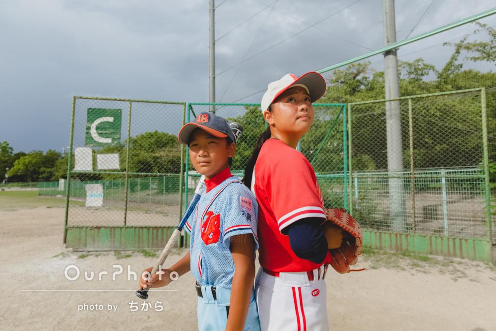 元気いっぱい!グラウンドにて野球大好き姉弟で出張撮影