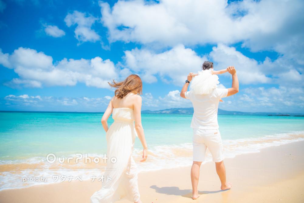 「綺麗なビーチで本当に素敵な写真」沖縄で1歳記念のバースデイフォト