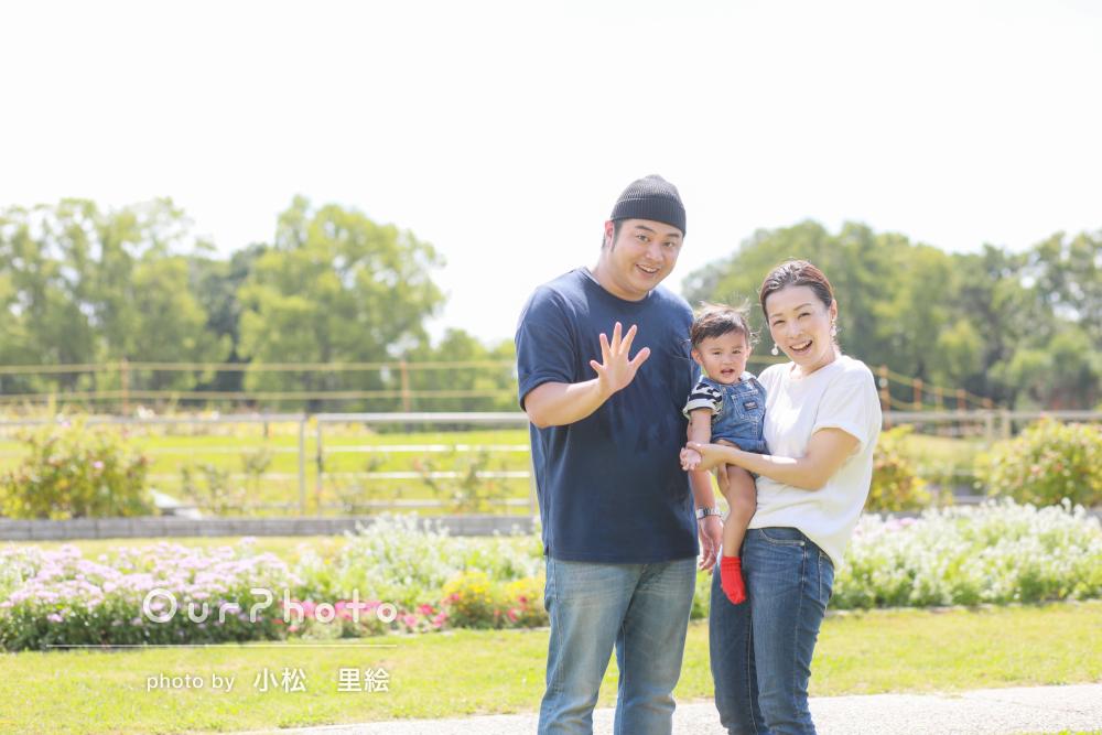 お子様も笑顔!1歳のお誕生日記念に公園へ出張撮影