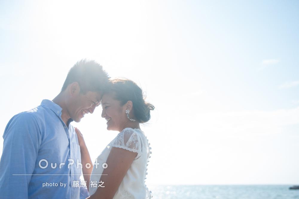 結婚式の前日に!ビーチでウェディングフォト撮影