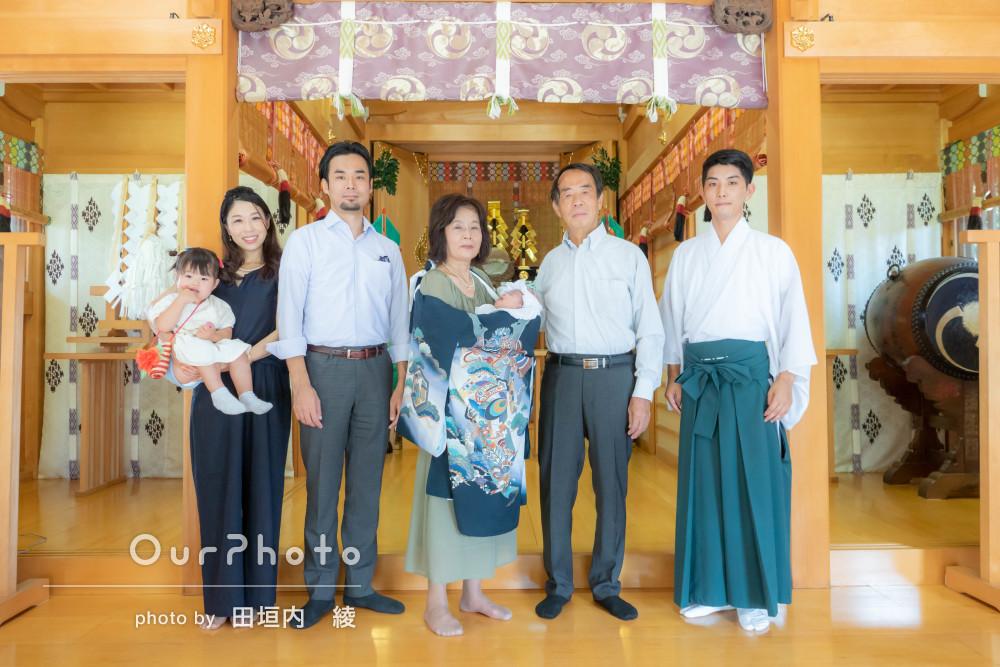 「家族全員が穏やかに楽しく」和やかなお宮参りの撮影