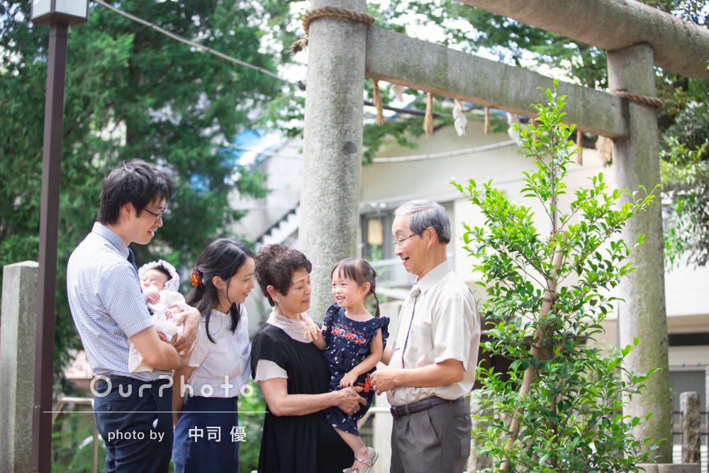 「大変満足です」祖父母様も一緒に家族みんなで!お宮参りの出張撮影