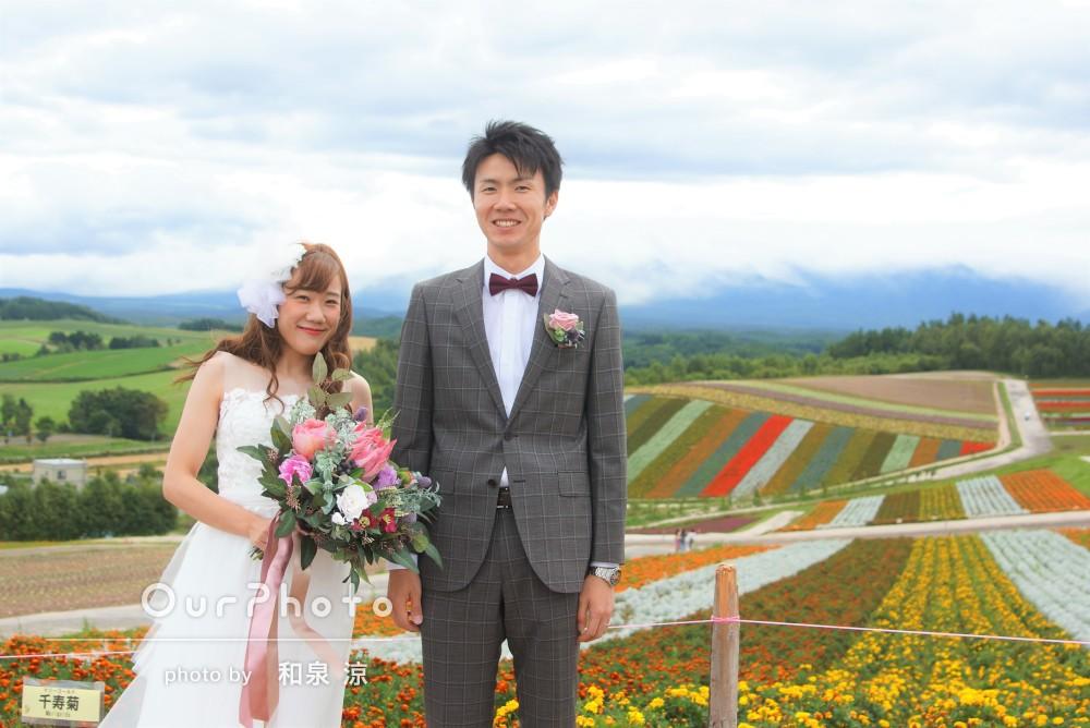 色鮮やかな北海道の花畑で!幸せ感じるウェディングフォト