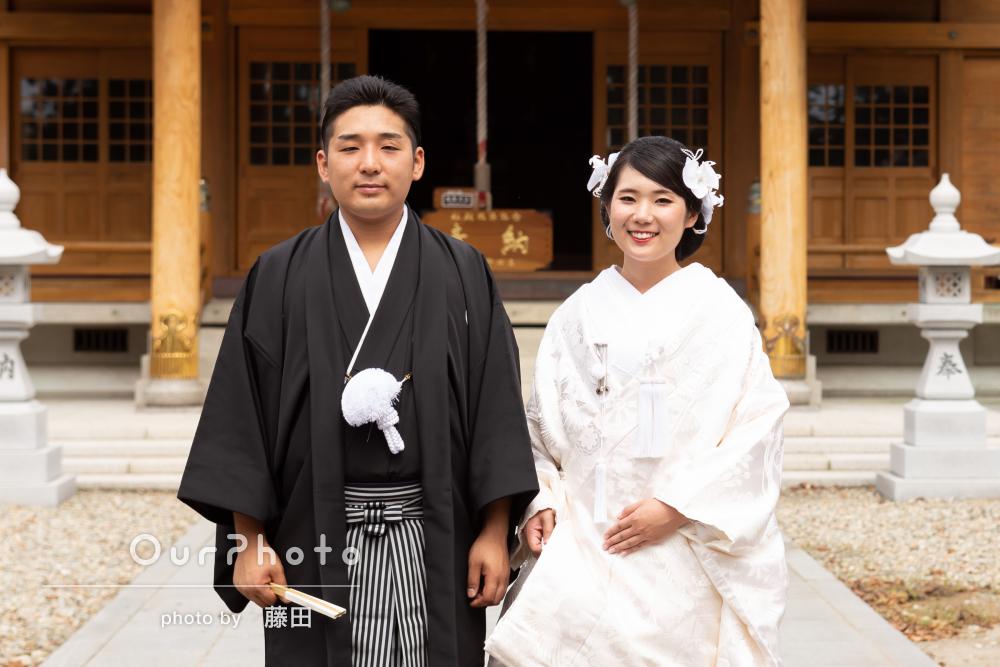 「とても良い写真」神社にて和装で神前挙式と結婚記念写真の撮影
