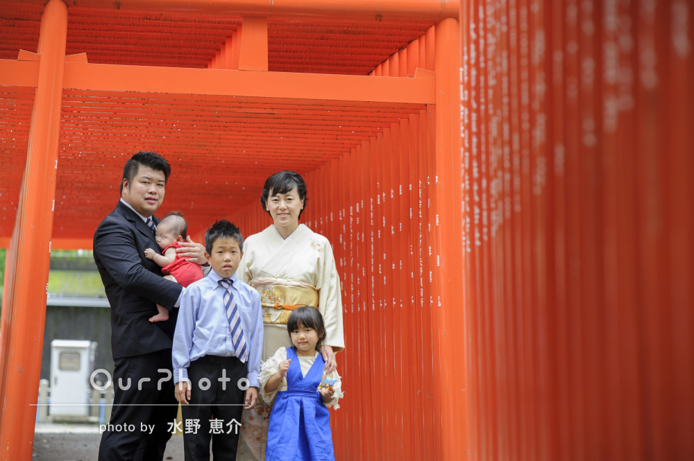 限られた時間で色んなパターンを!お宮参りに神社へ出張撮影