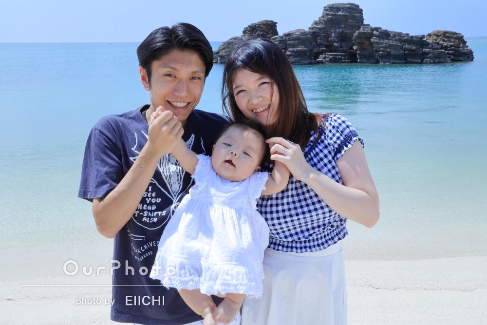 沖縄で夏いっぱい!ハーフバースデイ記念の家族写真の撮影