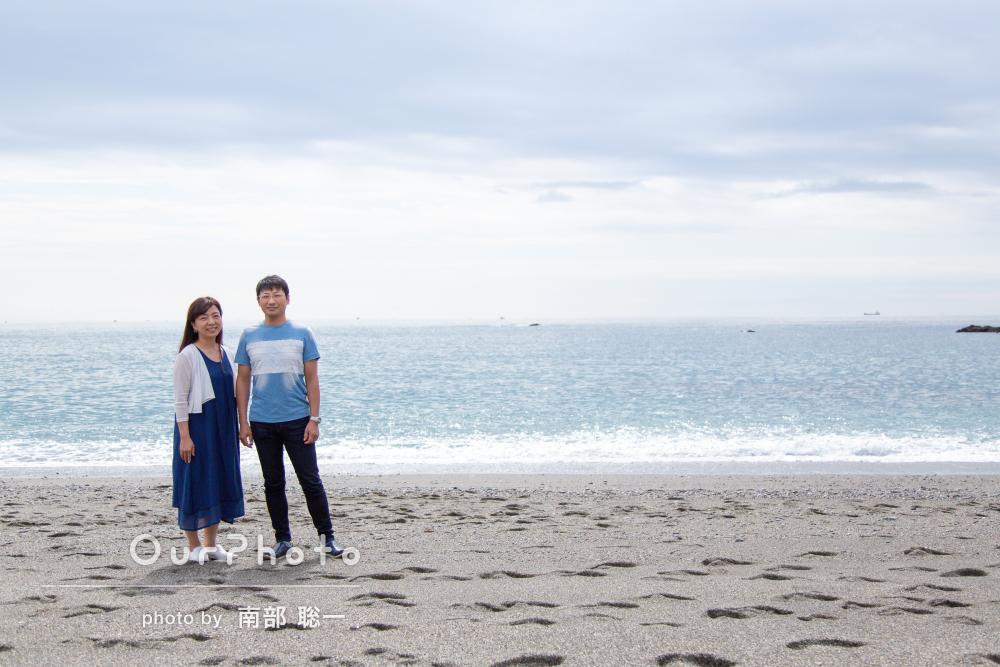 「期待以上でした」海辺で年賀状用の夫婦写真の撮影