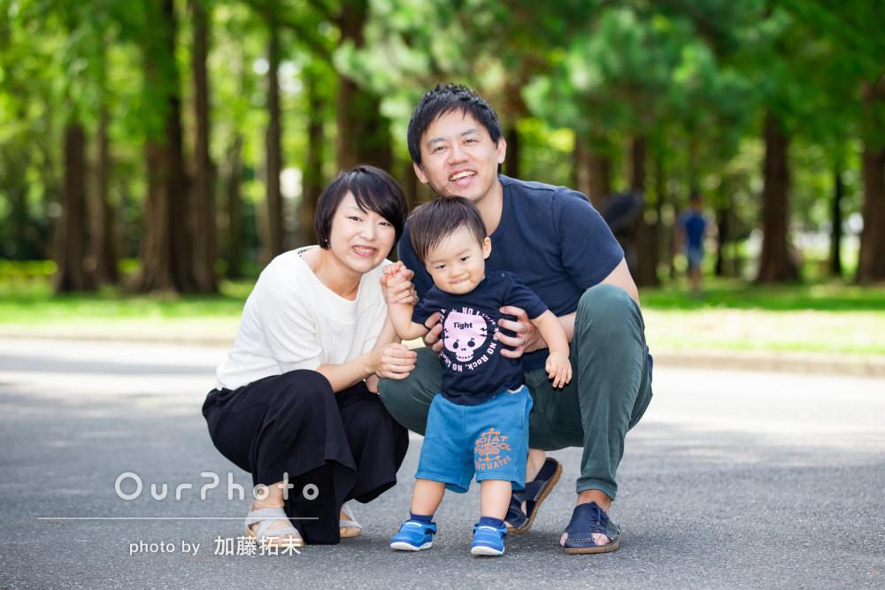 いつもの休日を綺麗な写真で残したい!公園で家族写真の撮影