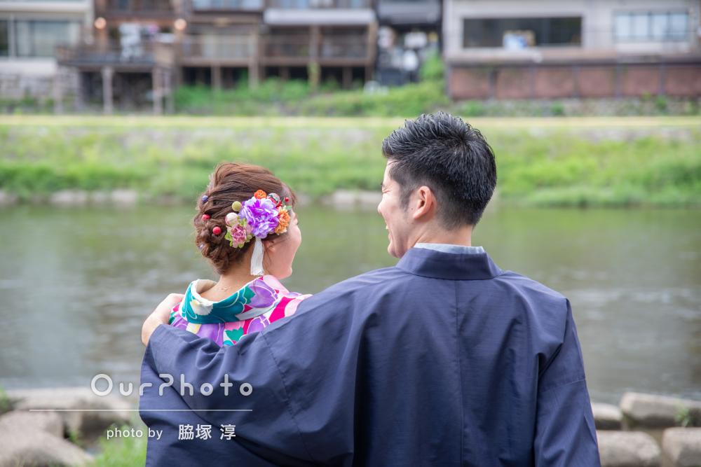 京都で着物で、優しい愛が伝わるカップルフォトの撮影