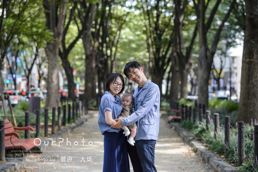 年賀状にも使える優しい雰囲気の家族写真を公園で撮影してほしい!