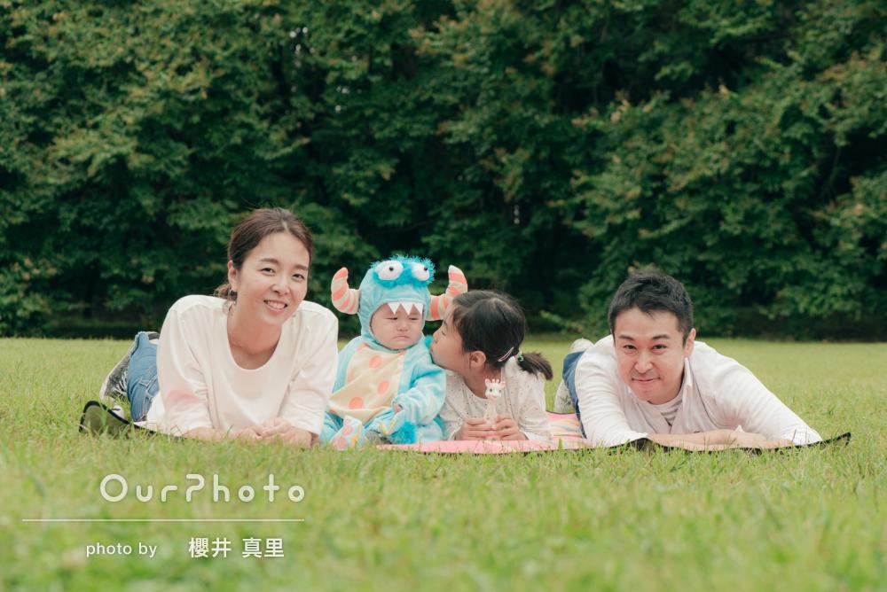 「数割増しに爽やかな家族写真に!」1歳の記念に家族写真の撮影