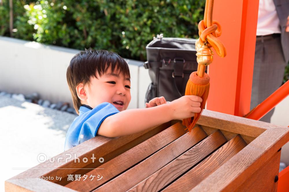 暑い日神社でのびのびと!七五三の撮影