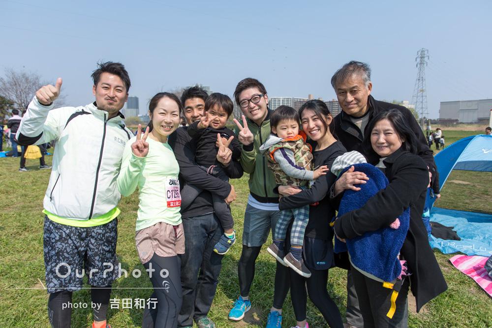 「躍動感ある写真など、自分たちで撮影するのは難しいので今回お願いしていい記念になりました。」3家族のマラソン大会参加の様子の撮影