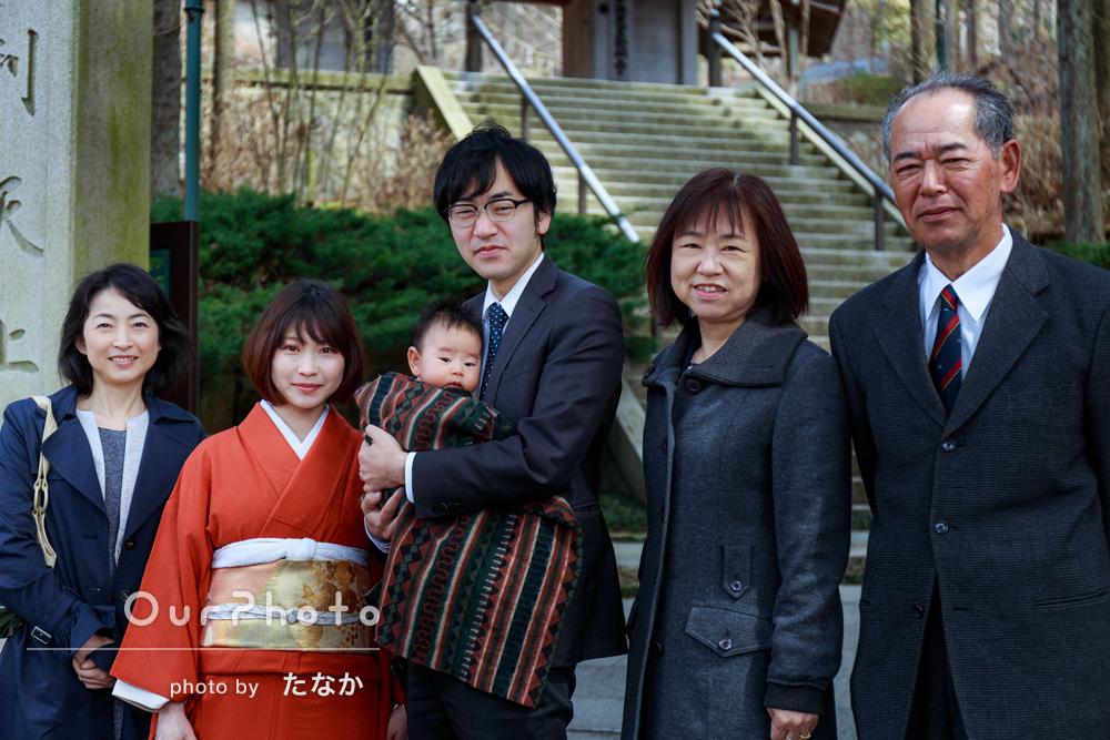 「家族の集合写真が撮れていい記念になりました」お宮参りの撮影