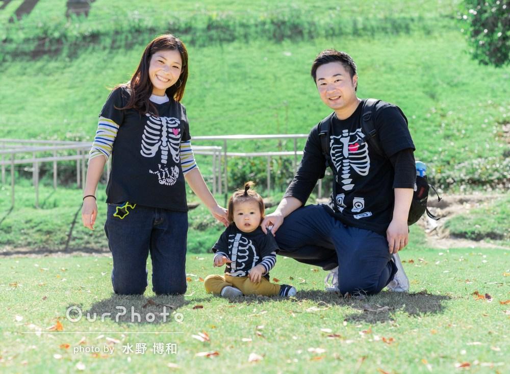 衣装を変えながらハロウィン!自然な表情の家族写真の撮影