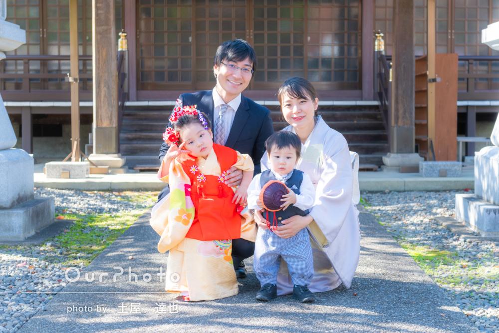 「両家家族にも大好評」七五三参りと初誕生日祝いを出張撮影!