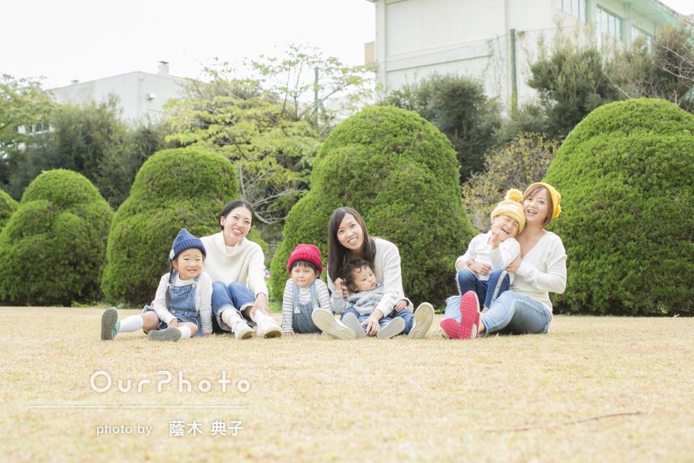 ママ友親子3組で!リンクコーデで秋の公園カジュアルフォト撮影