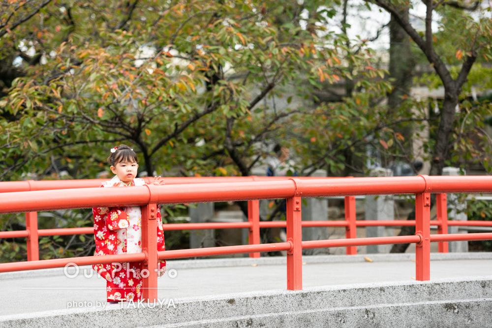 秋の紅葉の中で「素敵な写真がたくさん」七五三の撮影
