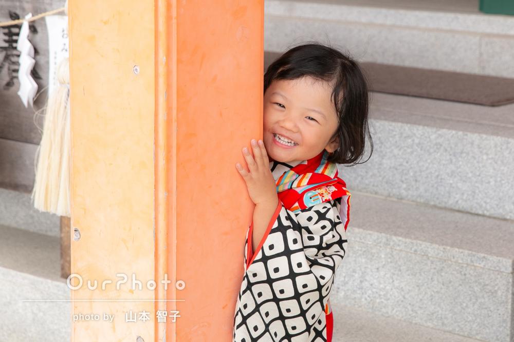 お参りで子どもの自然な表情や親子での写真!七五三の撮影