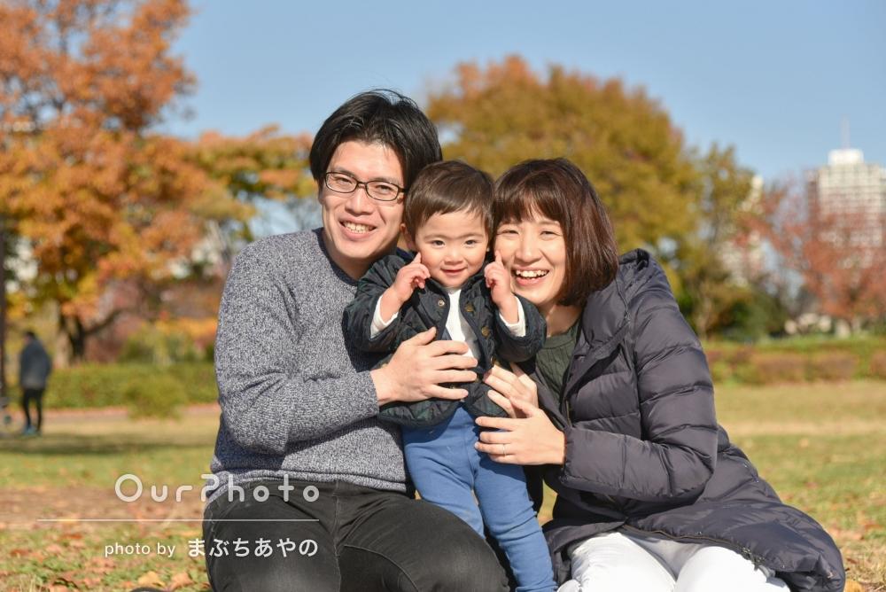 紅葉と一緒に!公園で誕生日記念のカジュアルフォト撮影