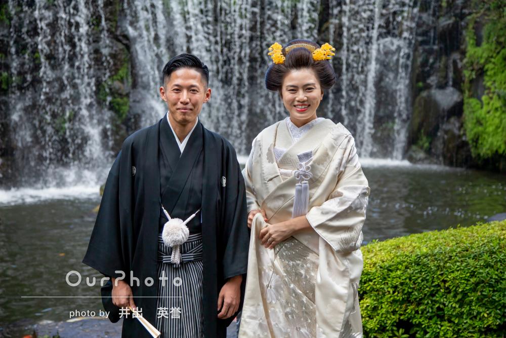 お二人の笑顔で晴れやかに本格神前式の撮影
