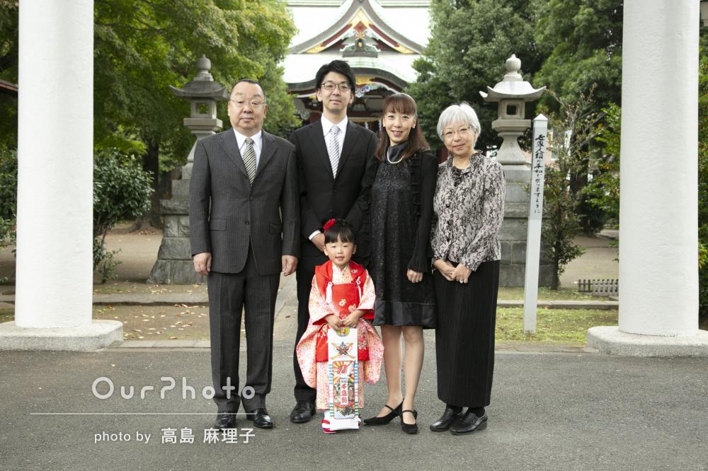 「はじめて依頼しましたが家族全員大満足でした」神社で七五三の撮影