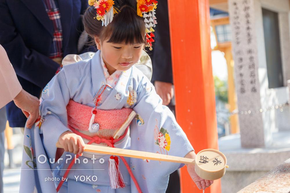 「良い表情を撮ってくださいました」神社や公園で七歳の七五三撮影