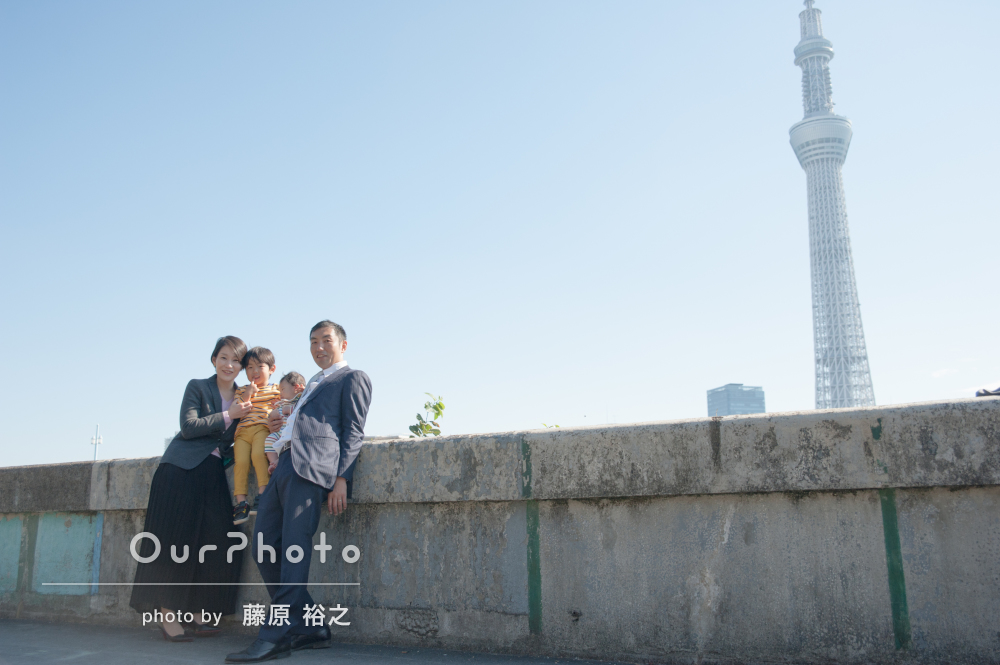 「時間が余ったので少し場所を移して」神社と街中でお宮参りの撮影