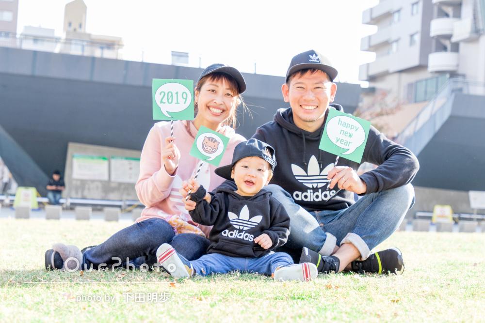 「一生の思い出になる家族写真」年賀状にも使える1歳記念の家族写真