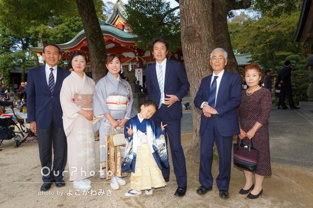 おじいちゃんおばあちゃんも一緒に!七五三詣りの撮影