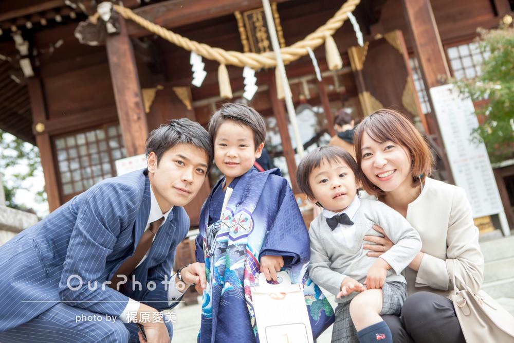「楽しく撮影」「子どもたちも喜んでいました」神社で5歳七五三写真の撮影