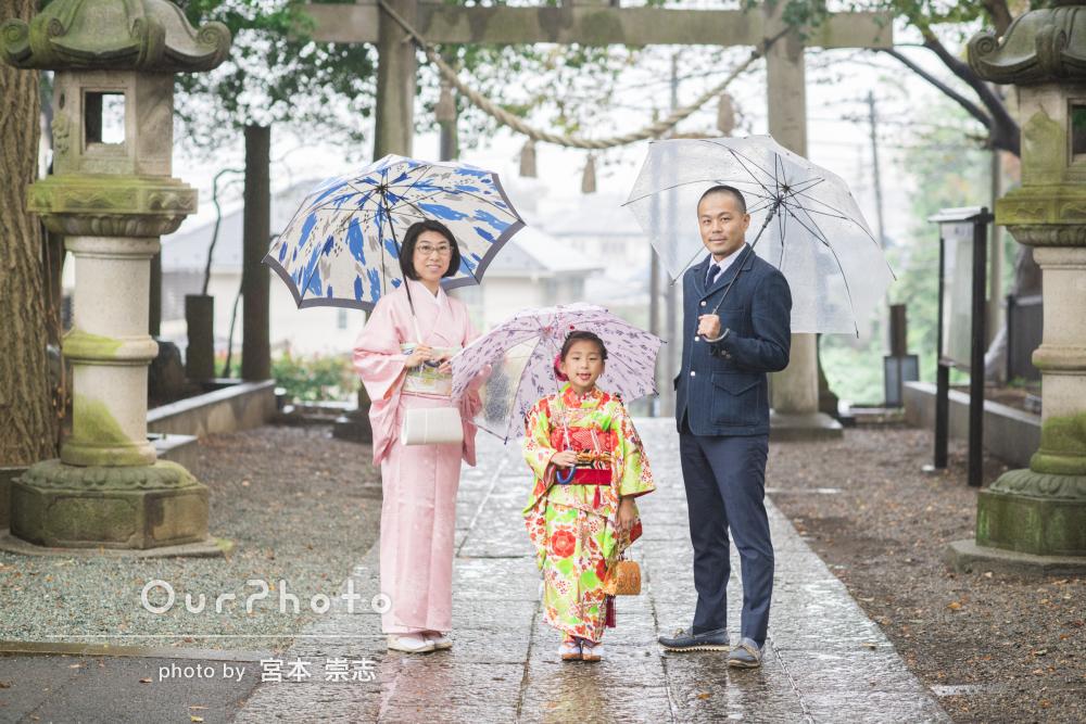 雨でもパッと明るい!神社で七五三の出張撮影