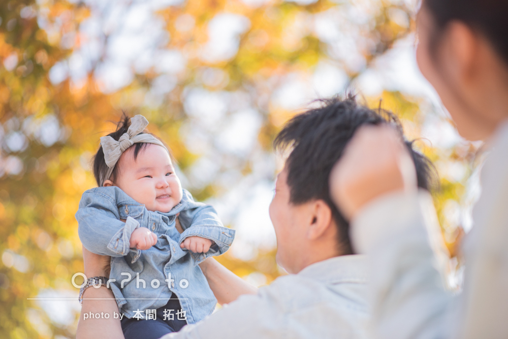 4ヶ月の娘さんと!初めての年賀状用の家族写真を撮影